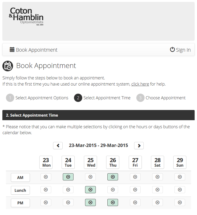 Our Online Appointments Booking System | Coton and Hamblin
