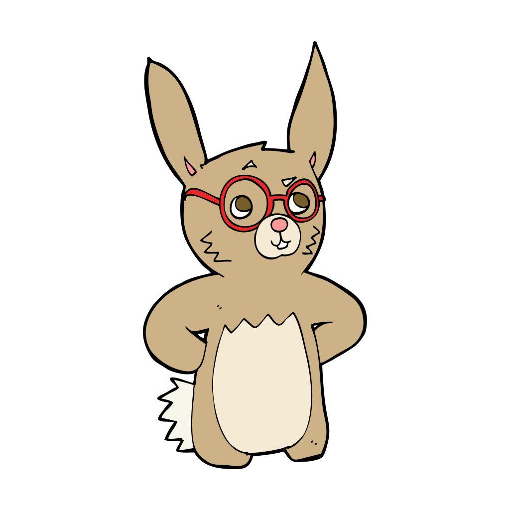ester bunny wearing specs